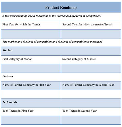 product template product template for roadmap template of product roadmap