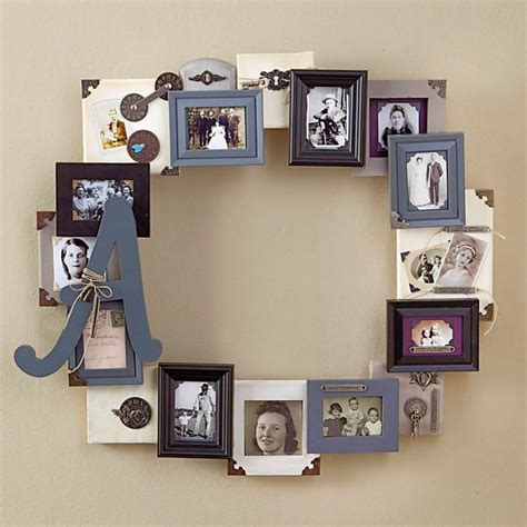 photo framing ideas family photo frame collage idea with round picture frame