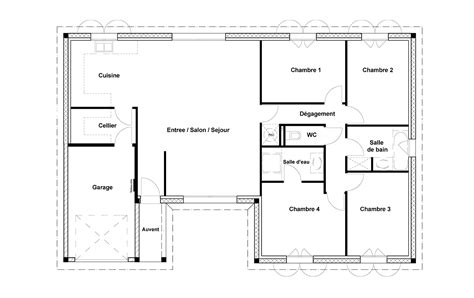 plan maison 100m2 4 chambres plan maison rectangle 4 chambres