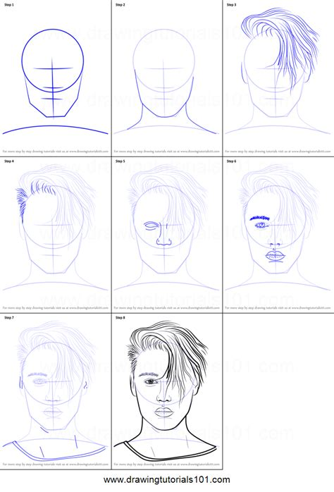 Justin Bieber Drawing Step By Step how to draw justin bieber v2 printable step by step