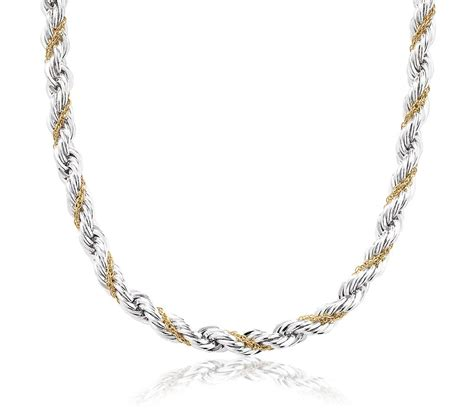 rope chain necklace in sterling silver and 18k yellow gold