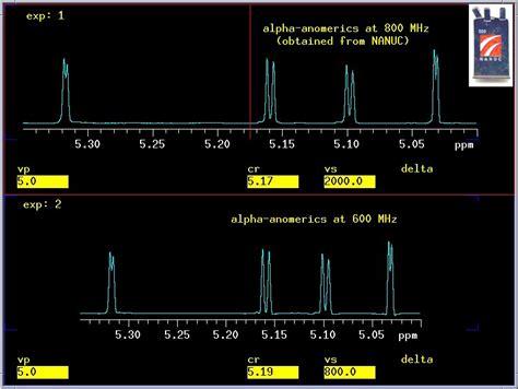 anomeric proton 800 600mhz comparison