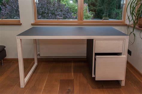 187 Schreibtisch In Ahorn Und Linoleum Holzwerkstatt