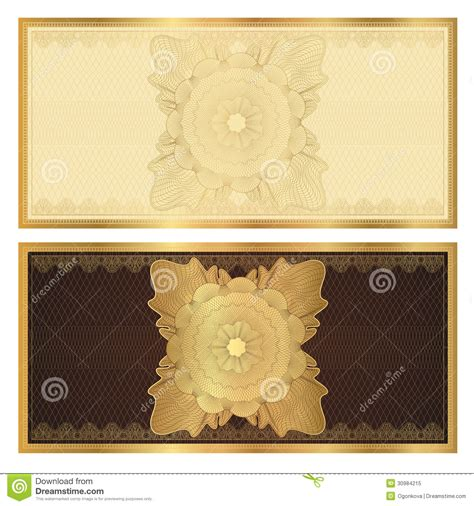 voucher gift certificate template gold pattern royalty