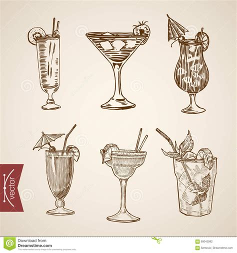 vintage cocktail vector cocktail aperitif alcohol glasses lineart retro vintage