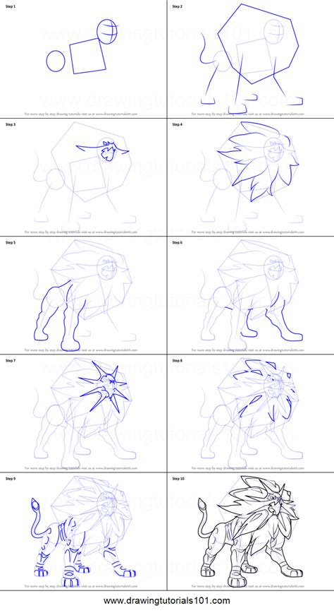 doodle drawing tutorials how to draw solgaleo from sun and moon printable