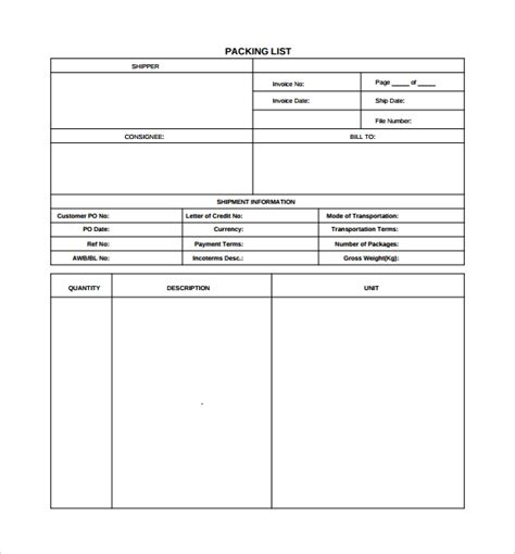 7 Packing List Templates Sle Templates Packing List Template