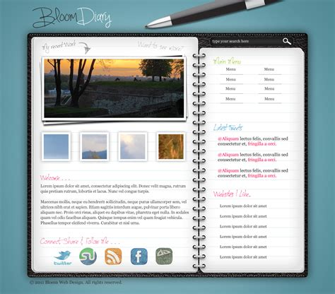 photoshop graphic design templates design a diary journal web layout in photoshop designbump