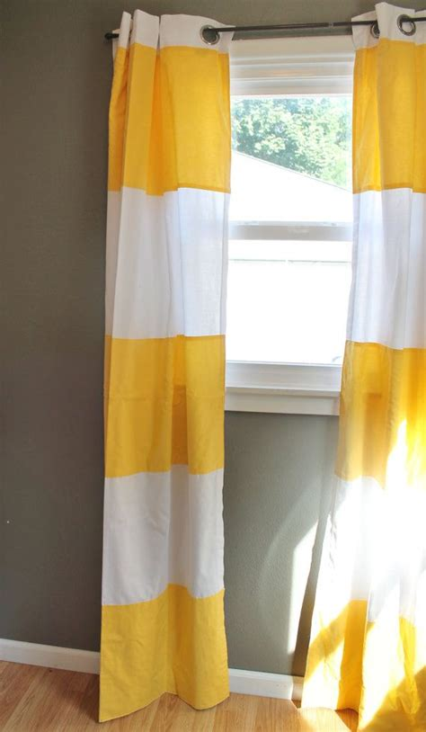 Modern Stripe Curtains In Lemon Yellow Cabana Wide Stripe Yellow Curtains For Nursery
