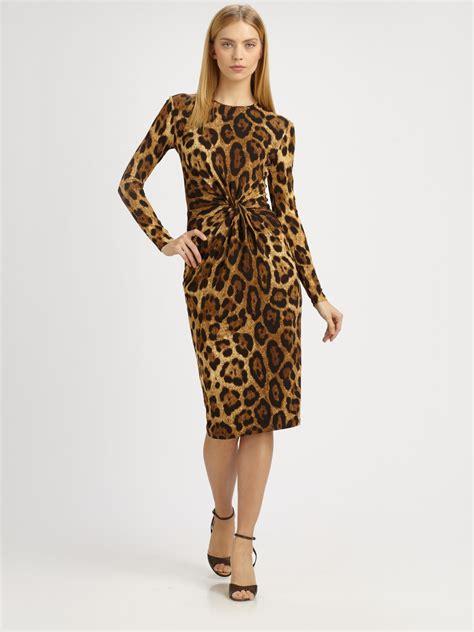 Dress Animal Print G216922 lyst michael kors leopard print dress in brown