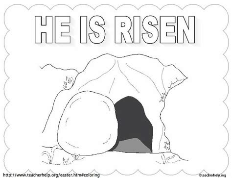 he is risen empty tomb w title coloring sheet le