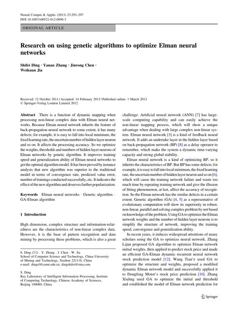 research paper on neural network pdf research on using genetic algorithms to optimize elman