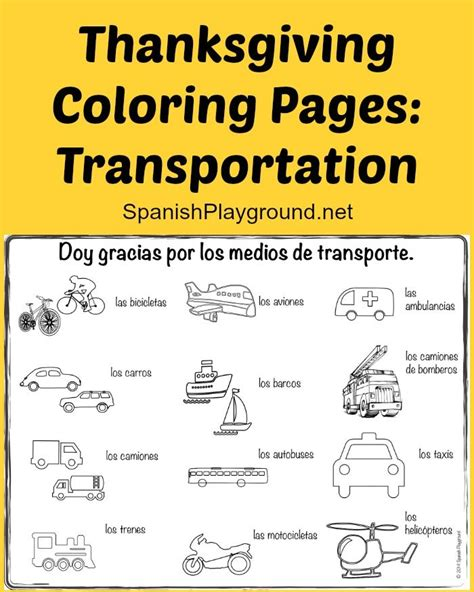 turkey coloring page spanish thanksgiving coloring pages transportation spanish