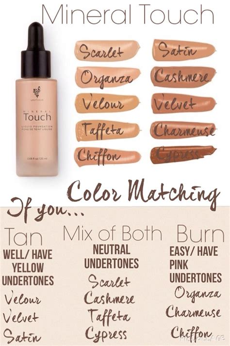 foundation colors touch liquid foundation color matching chart https www