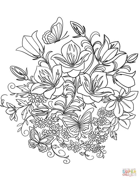 coloring page flowers butterfly and flowers coloring page free printable