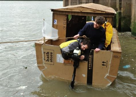 cardboard boat thames boat made from cardboard sets sail on the thames river