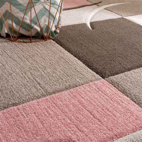 teppich pink designer rug modern contour cut pastel colours with check
