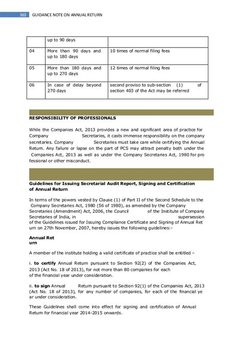 section 90 of the companies act guidance note on annual return companies act 2013