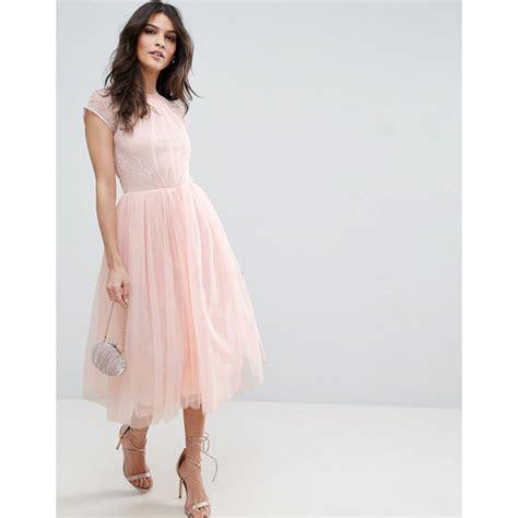 asos wedding tulle midi dress asos premium lace tulle midi prom dress nudevotion