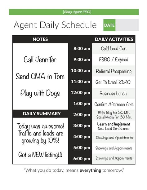 The 6 Things All Million Dollar Agents Do Real Estate Daily Planner Template