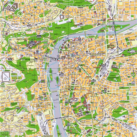 prague map large detailed tourist map of prague city center prague