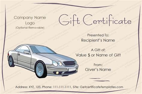 Free Automotive Card Template by Autos Gift Certificate Template Get Certificate Templates