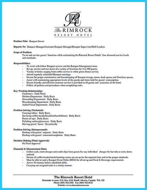 restaurant lead server resume sle business synopsis template performa of resume