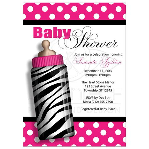 Zebra Pink Baby Shower by Baby Shower Invitations Zebra Print Baby Bottle Pink