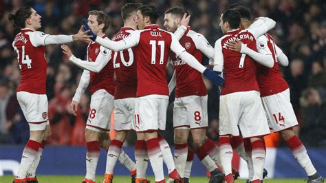 arsenal squad 2018 aubameyang bags debut goal ramsey treble as arsenal crush