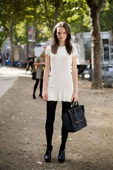 black white dress with tights white dress black tights