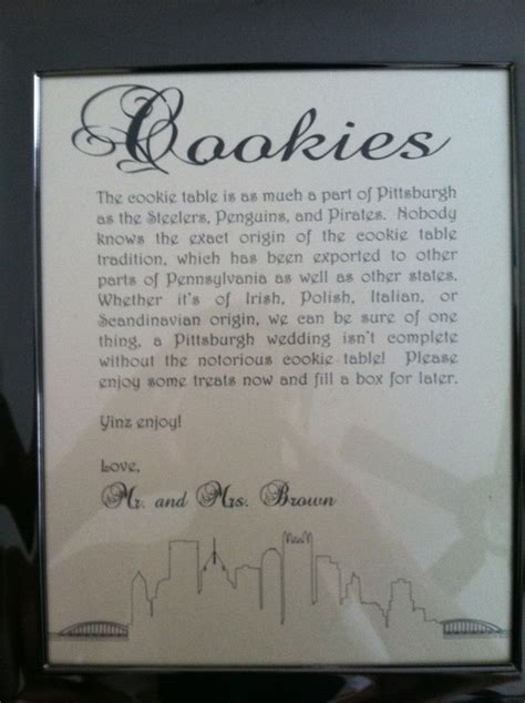 pittsburgh wedding cookie table sign mrs brown