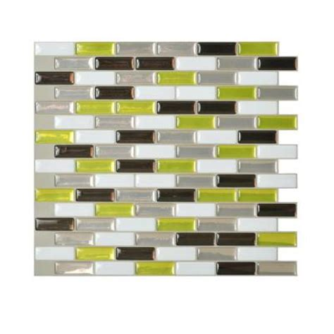 peel and stick backsplash home depot smart tiles murano verde 10 20 in x 9 10 in peel and