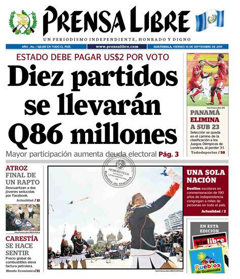 imagenes libres guatemala prensa libre guatemala 16 09 2011 portada batonistas