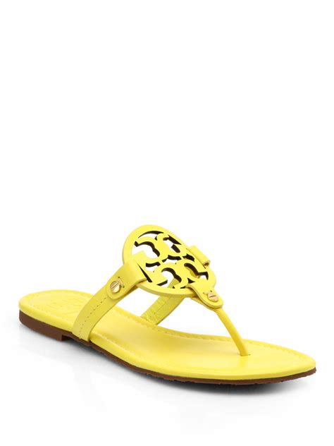 burch logo sandals burch miller patent leather logo sandals in