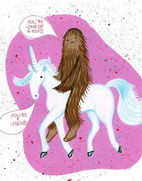 bigfoot and unicorn valentines day card