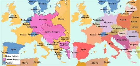 world war 1 map of europe map of europe ww1 before and after