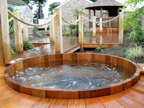 backyard patio ideas with hot tub landscaping