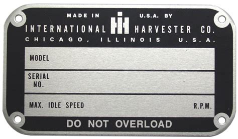 Ih Serial Number Search Later Style Serial Number Tag 1950 Up Ih Parts