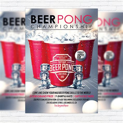 Beer Pong Chionship Premium Flyer Template Facebook Cover Exclsiveflyer Free And Free Pong Flyer Template