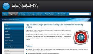 pattern matching engine sensory networks hyperscan pattern matching engine
