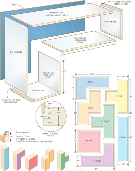 shelving layout stack em up tetromino bookshelves canadian home workshop
