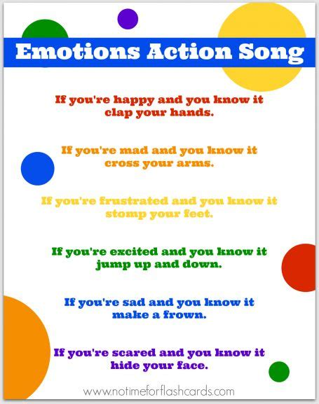 feeling testo emotions song for preschool with free lyrics printable