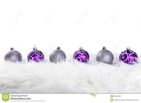 purple with silver purple and silver baubles stock photo image