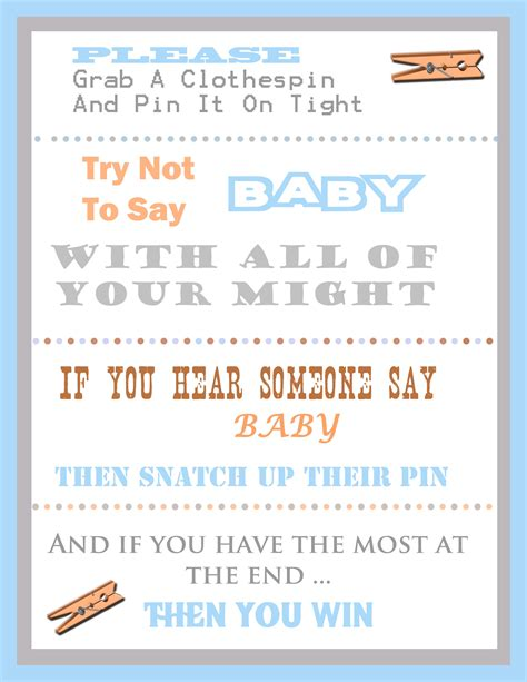 baby shower games templates free download the clothespin baby shower game