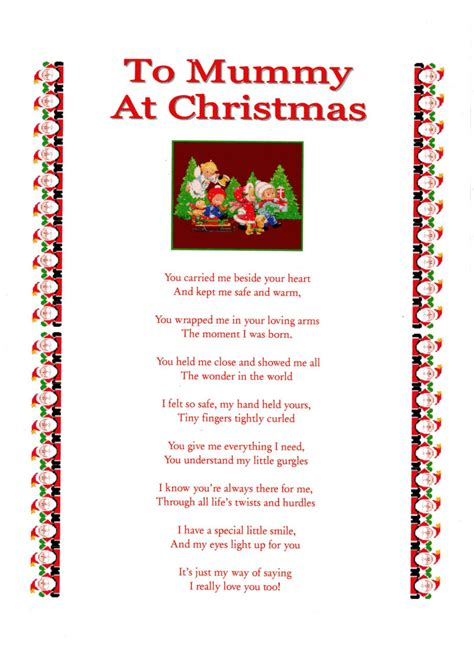 mummy christmas laminated poem gifts