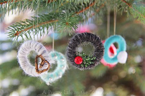 mini yarn wreath christmas tree ornaments