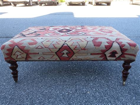 covered ottoman 20th century english kilim covered ottoman at 1stdibs