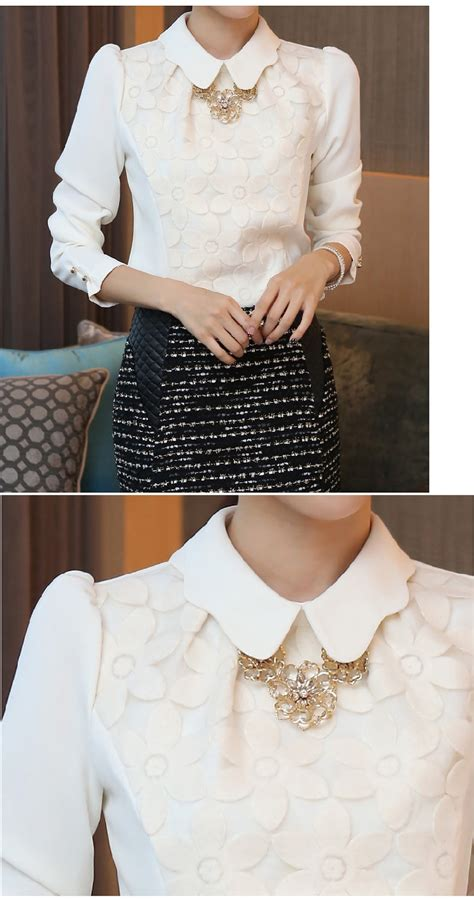 Chiffon Blouse Korea Import White Putih korean sleeve embroidered chiffon tops blouse white shirt ebay