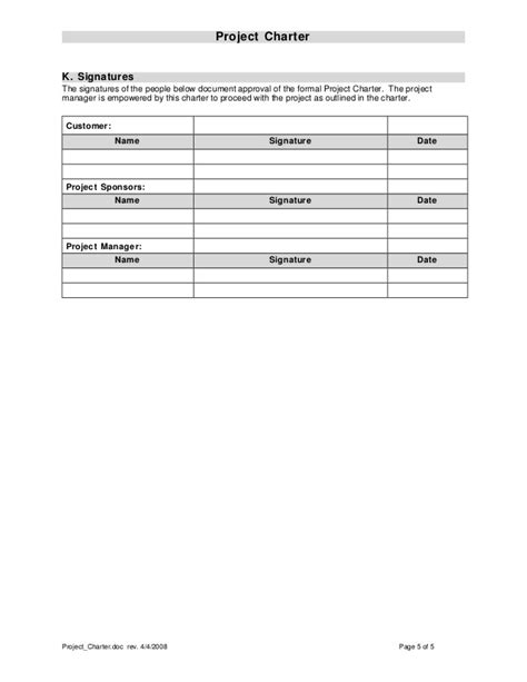 project charter sections project charter template