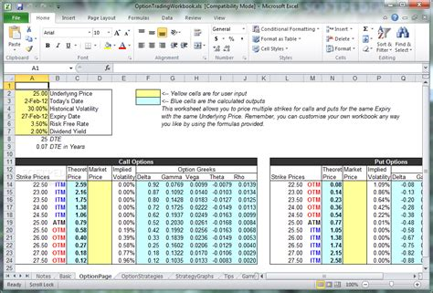 Excel Spreadsheet For Option Trading Onlyagame Trading Excel Template